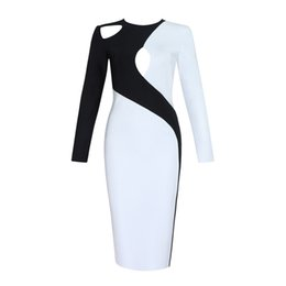 Black Sexy Ladies Clothes UK - 2018 New Bandage Dress O Neck Long Sleeve Evening Party Summer Women Dresses Sexy Club Celebrity Ladies Clothing J190511