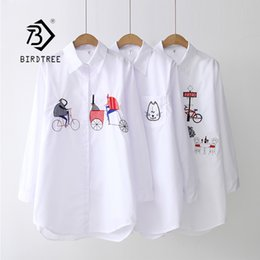 Wholesale 2019 NEW White Shirt Casual Wear Button Up Turn Down Collar Long Sleeve Cotton Blouse Embroidery Feminina HOT Sale T8D427M