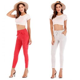 $enCountryForm.capitalKeyWord Australia - Women Slim Striped Cropped Pants Fashion Ladies Casual Pencil Pants with Belt Female Skinny Elastic Waist Nine Piece Pants