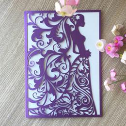 $enCountryForm.capitalKeyWord Australia - 50PCS  lot Hollow Laser Cut Vitality Girl Sweet Invitation Card Bridal Shower Fancy Dress Party Supplies