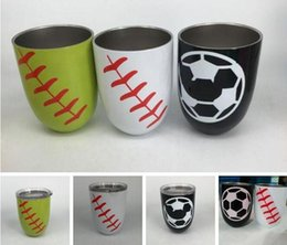 Coating Mug Australia - Cup Stemless Steel Baseball Egg Wine Mugs Powder Coated Stainless Steel Softball Basketball Wine Glass Beer Cup With Lid 3 Colors 50pcs