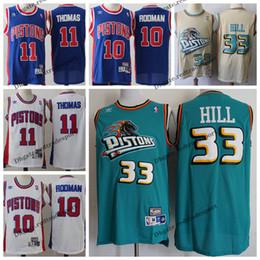 Thomas gold online shopping - Vintage Mens Detroit Grant Hill Pistons Classic Gold Basketball Jersey Cheap Dennis Rodman Isiah Thomas Stitched Shirts S XXL