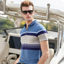 men polo shirt stripe NZ - Hollirtiger man stripe polo shirt New Summer Casual Men Cotton Breathable Striped Printed Male Short Sleeve pocket polo Men