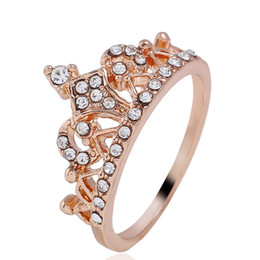 south indian gold finger ring designs 2019 - Rose Gold Color Rhinestones Retro Princess Crown Design Lady Finger Ring Girls nice party engagement Ring jewelry factor