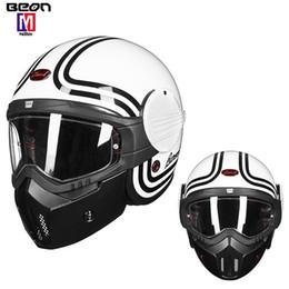 Red Full Face Helmets Australia - Newst B706 BEON latest 3 4 retro motorcycle helmet modular flip helmet capacete motocross full face racing helmet casco moto fiberglass