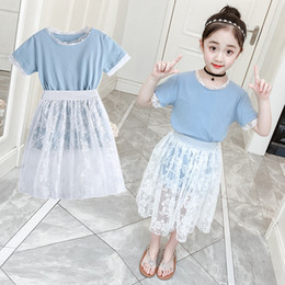 7be3c818ace New Children Clothing Sets For Girls T-Shirts   Long Skirts 2Pcs Summer  Girls Outfits 4 5 6 8 9 10 12 years old School Suits