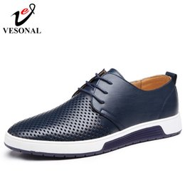 holes leather shoes men 2019 - Vesonal Spring Summer Breathable Holes Soft Male Casual Leather Shoes Adult Brand Flat Footwear Comfortable Shoes For Me