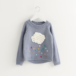 Wholesale Hot Sale Cute Warm Sweater for Girls Kids Cloud Long Sleeve Baby Girl Sweater O Neck Loose Sweaters Child Pullover Tops Clothes