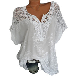 $enCountryForm.capitalKeyWord Australia - 5xl Plus Size Women Floral Lace Crochet Blouse Sexy Hollow Out Shirts Top Casual Summer Short Sleeve Blouses Camisa 2019