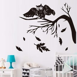 owl decorations for nursery NZ - Autumn Tree Leaves Falling Owls Night Bird Wall Sticker For Kids Rooms Vinyl Wall Art Stickers Decals Babys Home Decoration