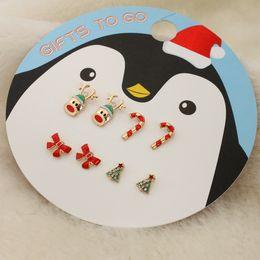 Christmas Gift Nails Australia - 4pc set Christmas gifts bowknot Christmas tree red bow nails deer head crutch earrings