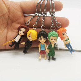 pendants anime one piece Australia - Fashion Jewelry Cute One Piece Series Keychain 3D Cartoon Luffy Bag Pendant Anime Peripheral Key Ring Gift