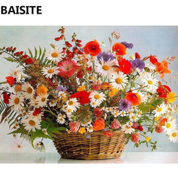 Discount frames for flower paintings - BAISITE DIY Framed Oil Painting By Numbers Flowers Pictures Canvas Painting For Living Room Wall Art Home Decor C167