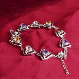 Silver Tennis Bracelet Diamonds Australia - Silver Plated Colorful Stone Bracelet Czech diamond high quality charms Bangles Classy Women Engagement Jewelry Bracelets-P