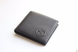 Leather money cLip card hoLder waLLet online shopping - European and American Fashion designer Short Wallets Top Cow Leather Money Clip Thin Purses Unisex Credit Card Holder with box packing
