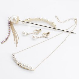 $enCountryForm.capitalKeyWord Australia - More hair Shengji Jewelry Pearl Earrings Necklace Three-Piece Set Retro Fenghan Clothing Headwear Hairpin Jewelry Accessories