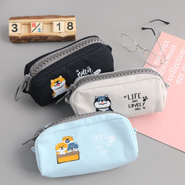 Dog Zipper Australia - Big Zipper Shiba Dog Pencil Case Cartoon Unicorn Large Capacity Pencil Bag pen Pouch Stationery gift School Supplies Zakka
