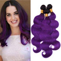 "$enCountryForm.capitalKeyWord Australia - Peruvian Human Hair Ombre Purple Body Wave Weave Bundles 3Pcs Lot #1B Purple Dark Roots Ombre Human Hair Bundles Wefts Extensions 10-30"""