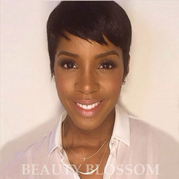 $enCountryForm.capitalKeyWord Australia - Human hair Ladys' Hair Wig Full machine made Wig Capless Rihanna Style New Stylish color Black Short pixie cut Straight Africa American wigs