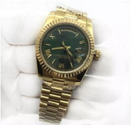 Wholesale Luxury Unisex Mens Watch Day-Date 36mm 18K Gold Green Dial President Sapphire Cystal Diamond Number Men Watches Automatic Mechanical 61009