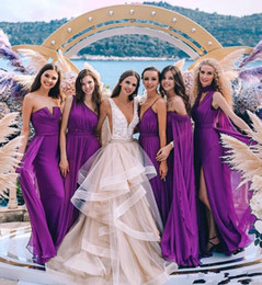 different styles silver black wedding dresses NZ - Purple New Cheap Chiffon Bridesmaid Dresses Beach Garden Summer Different Styles Long Side Split Wedding Guest Gowns Maid Of Honor Dress