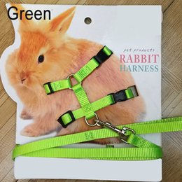 green rabbit cartoon Australia - Pet Rabbit Soft Harness Leash Adjustable Bunny Traction Rope for Running Walking