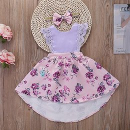 kids princess velvet clothes UK - Vieeoease Girls Dress Floral Kids Clothing 2018 Summer Fashion Sleeveless Vest Lace Print Princess Party Dress EE-565