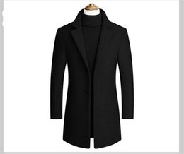 Wholesale mens wool coats for sale - Group buy Long Sleeve Trench Coats Spring Autumn Mens Outwear with Single Breasted Fashion Solid Lapel Neck Outwear Mens
