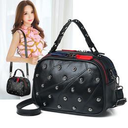 Double hanDbags online shopping - Designer Genuine Leather Dot Rivet Handbag For Women Punk Style Boston ladies Panelled Double sided Zipper Shoulder Crossbody Bag