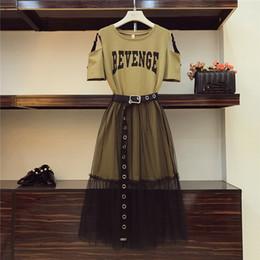 See through Shirt Skirt online shopping - 2 Piece set Summer Women s Cotton Long Strapless T shirt Mesh See Through Skirt Sets Women Fashion Holes Belt Skirts Suits
