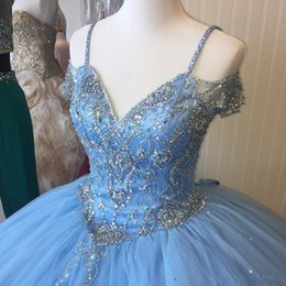 $enCountryForm.capitalKeyWord NZ - Light Sky Blue Quinceanera Dresses Cap Sleeves Spaghetti Beading Crystal Princess Prom Dresses For Sweet 16-Year-Old Prom Gowns