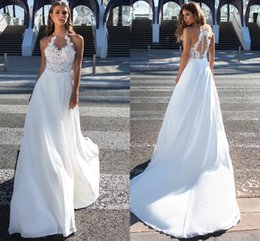 5ef70df4a9 Amazing Halter Designer Wedding Dresses Bridal Gown Chiffon Sheer Neck  Applique Lace Beaded Top Open Back See Through Wedding Dress