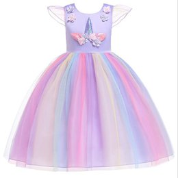 Children straight gown styles online shopping - Unicorn dress girls lace sleeveless dress children boutiques clothes kids designer princess skirts baby tutu dresses
