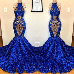 gold evening dress chapel train Australia - Royal Blue Mermaid Prom Dresses 2019 Rose Flowers Skirts Long Chapel Train Halter African Evening Gowns Gold Applique Beads Formal Dress
