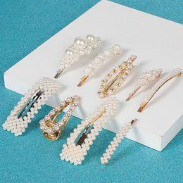 $enCountryForm.capitalKeyWord Australia - Sale Fashion Pearl Hair Clip for Women Elegant Korean Design Snap Barrette Stick Gold Metal Alloy Hairpin Hair Styling Accessories 15pcs