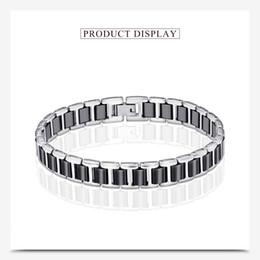 Movie Steel Canada - Korean Fashion Titanium Steel Ceramic Bracelet Jewelry Charming Simple Black Ceramic Bracelet for Women Men pulseira masculina