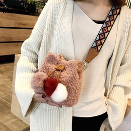 Pink Cell Phone Straps NZ - Winter New Plush Bucket Bag Mini Hair Ball Women Bag Wide Shoulder Strap Women Shoulder Messenger Clutch Mobile Phone