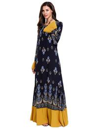 $enCountryForm.capitalKeyWord UK - Muslim Wome Dresses Round Neck Long-sleeved Pinted Stitching Ruffled Dress Abayas For Women Robe Musulmane Kaftan Dubai Clothing