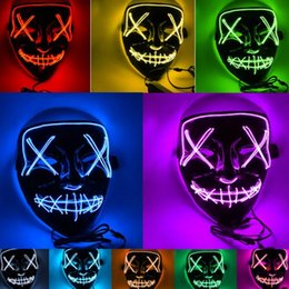 Cold Face Masks Australia - 2019 new Halloween LED full face with Mask haunted house ghost horror mask cold light party mask T2I5038