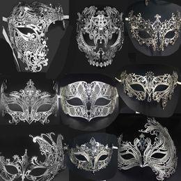 Filigree masquerade masks online shopping - Luxury Silver Gold Metal Filigree Laser Cut Skull Venetian Masquerade Mask Wedding Event Christmas Ball Costume Party Masks