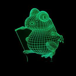 Small House Decoration Australia - Frog 3d Illusion Lamp Originality Desk Lamp Animal Modeling Children House Decoration Lamp Usb Colorful Touch Small Night-light