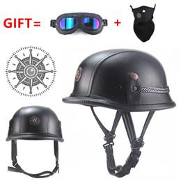 $enCountryForm.capitalKeyWord Australia - FREE SHIPPING WWII Style Open Face Half Leather Helmet Moto Motorcycle Helmet vintage Motorcycle Motorbike