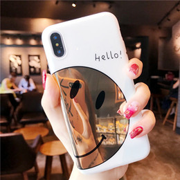 smile soft case Australia - Cute Smile Face Mirror Phone Cases For iPhone 7 8 6 6s Plus Case For iPhone X Fashion Cartoon Letter Hello Soft TPU Back Cover