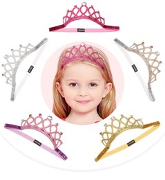 Toddlers Tiaras Baby Girls Australia - 5 Color Ins Baby Girls Princess Tiara Headbands With Diamonts Toddlers High Elastic Cosplay Hair Sticks Band Accessories 18*5CM 7*2 INCH