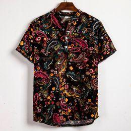 $enCountryForm.capitalKeyWord Australia - Summer Men's shirt Hawaiian Short Sleeve shirt Ethnic Printing Tops Casual Cotton Linen Loose Blouse Streetwear Camisa masculina