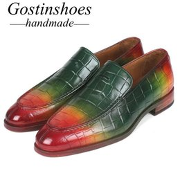 Mens Printed Lower Australia - GOSTINSHOES HANDMADE Mens Casual Shoes Genuine Leather Crocodile Pattern Printed Green Red Slip-On Men Loafers Welted SCT01