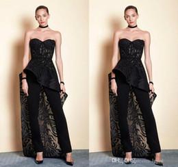Green Jumpsuit Black Woman Australia - Saiid Kobeisy Black Jumpsuit Women Evening Dresses Lace Applique Sweetheart Outfit Prom Gowns Sweep Train Event Wear