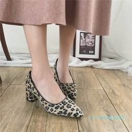 leopard print goods Australia - Pretty2019 High Morning! Good Coarse With Sharp Work Ol Women's Temperament Leopard Print Single Shoe Woman High-heeled Shoes