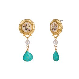 $enCountryForm.capitalKeyWord Australia - Colorful Shell Earrings Natural Coral Turquoise Stone Ear Hook Gold Alloy Block Baroque Pink Drip Oil Earrings Women