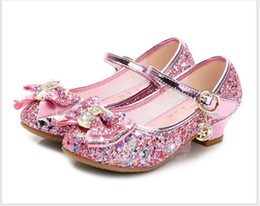 glitter shoes for girls Australia - Flower Children Sandals Knot Leather Shoes Princess Girl Shoes For Kids Glitter Wedding Party Sandalia Infantil Chaussure Enfant Y19062001